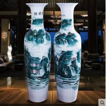 Hand-painted large blue-and-white porcelain vases landing on the floor