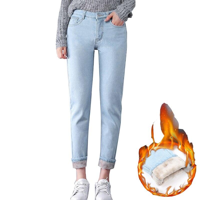 Winter Warm <font><b>Jeans</b></font> Women 2018 High Waist Cotton Casual Bodycon Vintage <font><b>Velvet</b></font> Ladies Trousers Female Pantalon Denim Pants