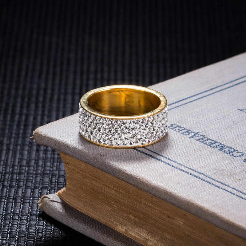 ZORCVENS Vàng & Màu Bạc Inox Cưới Trang Sức 5 Hàng CZ Đính Đá Thời Trang Đính Nhẫn Cho Nữ