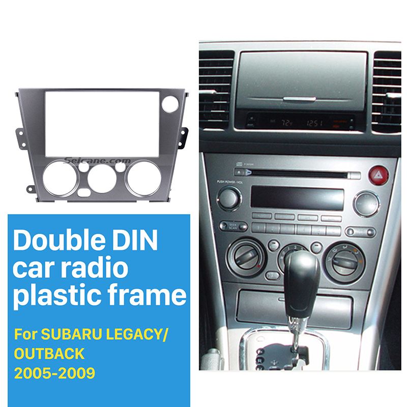 Seicane Black 2Din Car Radio Fascia for 2005 2009 Subaru Legacy Outback Left Hand Car Dash