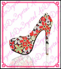Aidocrystal New 2016 colorful flower crystal shoes Womens wedding Pumps platform high-heeled party dress high heels