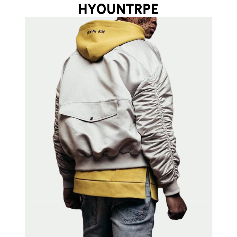 Fashion Bomber Loose Jacket Coat Men Pleated Sleeves Autumn Clothing Outerwear Windbreaker Tracksuit Hip Hop Streetwear Jackets-in Jackets from Men's Clothing    1