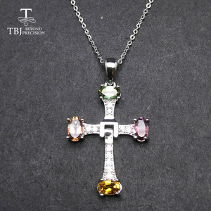 Image 4 - TBJ ,Elegant cross design with natural tourmaline multicolor gemstone necklace in 925 sterling silver fine jewelry with gift box