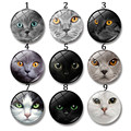 12-30mm Round Glass Cabochon Personality Cat Face Art Pendant Making Photo Cameo Cabochon Setting Supplies Jewelry Accessories