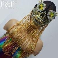 Burning Man восторженные костюмы Streampunk Спайк Хэллоуин голографические очки череп маска респиратор Косплэй фестиваль одежда наряды
