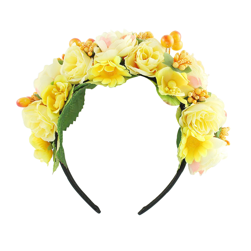 Rose yellow purple wreath boho headband crown headband flower Braided Wedding Garland hair accessories women Floral Crown in Women 39 s Hair Accessories from Apparel Accessories