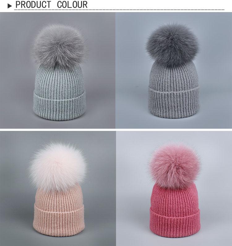 Natural zorro piel POM poms sombrero mujer caliente mujer niños gorra punto  Niña invierno grueso sombreros 2017 skulles gorros 24c286622f7