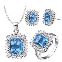 2017 Promotion Price Classic Sets Necklace Rings Earrings White Gold Colou Women Jewelry Light Blue Crystal Necklaces T546-6#
