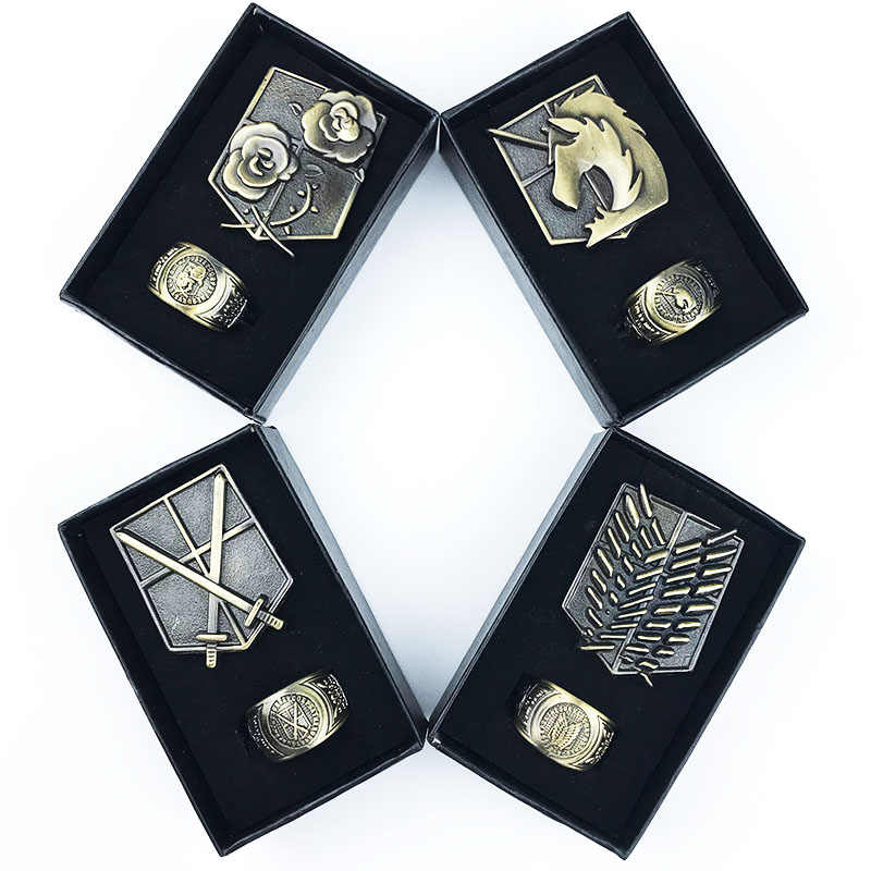 Attack on Titan Pins Brooches Scouting Legion Trainee Squad Military Police Regiment Stationed Corps Metal Badges Cosplay Gift