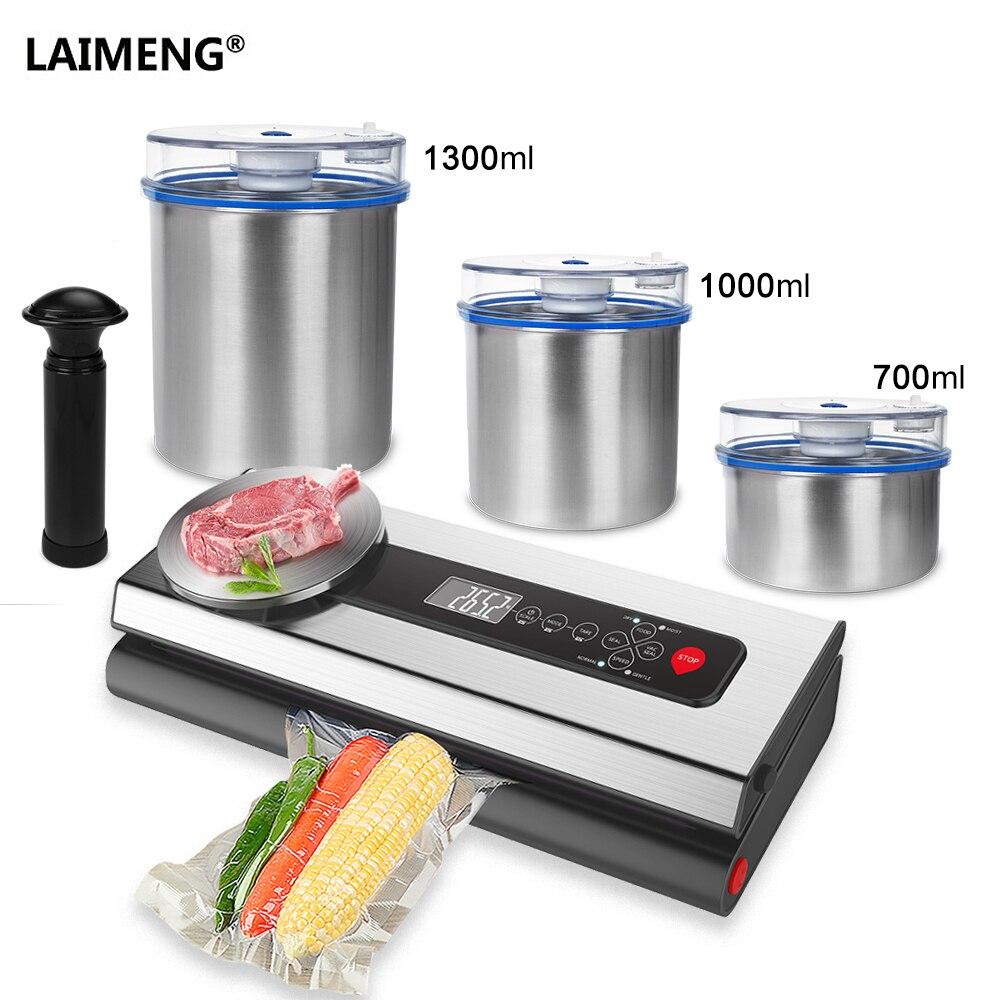 ÉCRAN LAIMENG Vide Alimentaire Sealer Packer Machine Avec Récipient En Acier Inoxydable de Qualité Alimentaire Sous Vide Sacs D'emballage Pour Emballage S214