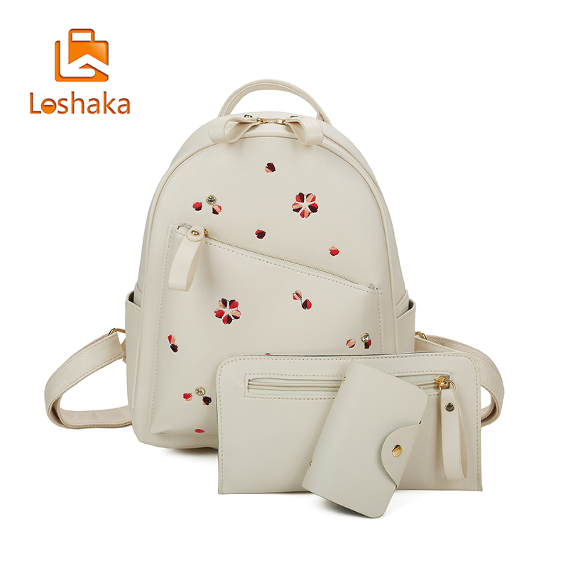 Loshaka Flower Floral Women's Leather Backpack 3 Set/pcs Teenagers Backpacks Fashion Ladies School Bag Women Bag