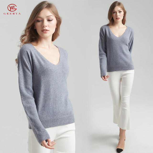 Geerya Women Pullover Cashmere Sweater 2018 Knitting Autumn Winter Multi Solid V-Neck Elegant Bottoming Ladies Tops