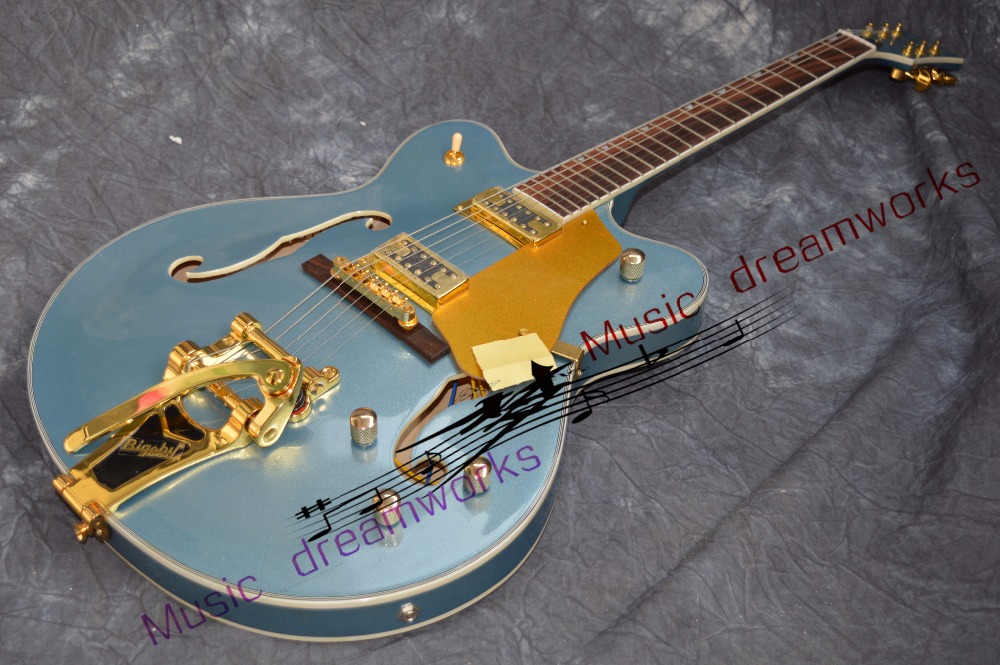 China OEM firehawk custom shop electric guitar Hollow Jazz Electric Guitar  High quality wood Ems free shipping china oem firehawk electric guitar schecter pure white guitar color can be changed the logo can be customized