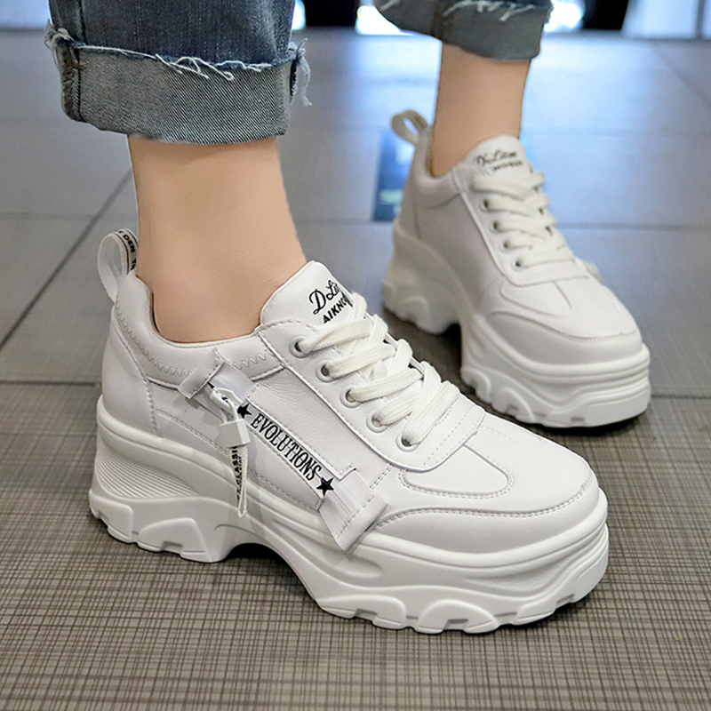 Chunky Sneakers Women White Shoes Female Sneakers 2019 High Heels Sneakers Platform Creepers Vulcanize Footwear Calzado Mujer
