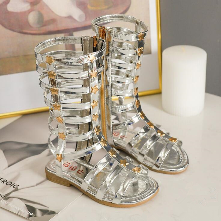 Summer Girls Roman Sandals For Kids High-top Gladiator Shoes Children Open Toe Boots Soft Bottom Leather Student Casual Sandals