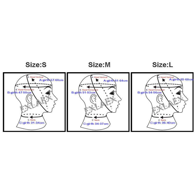 Латекс фетиш маска для взрослых резиновые колпаки Связывание капот отверстия для глаз носа и челюсти женский латекс маска
