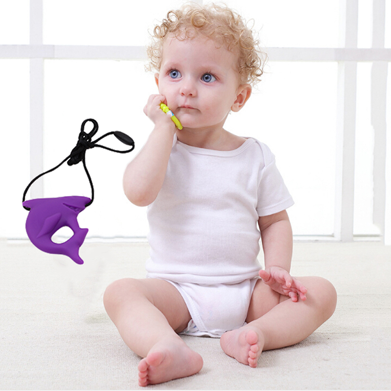 Cute Shark Pendant Food Grade Silicone Teething Teether Baby Nursing Jewelry For Mom Soft Shark Necklace Toys For Chew