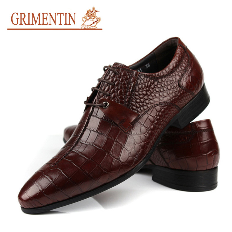 c50fac3a680a5 GRIMENTIN genuine leather men shoes dress black brown Italian fashion  wedding male shoes 2017-in Formal Shoes from Shoes on Aliexpress.com