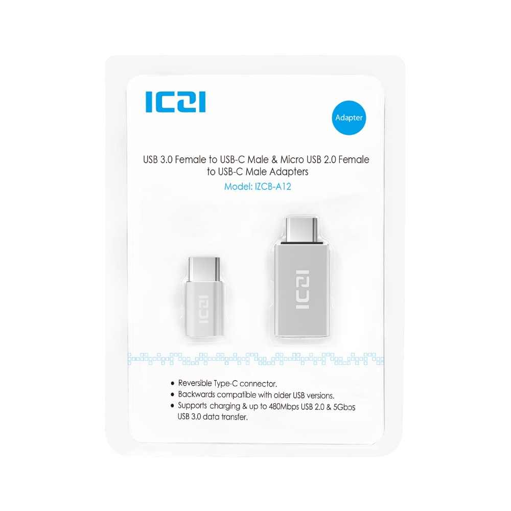 Adaptateur ICZI Type C vers Micro USB (1 pièces) + adaptateur Type C vers USB 3.0 (1 pièces) pour Macbook Chromebook Pixel HTC 10 LG G5 (argent)