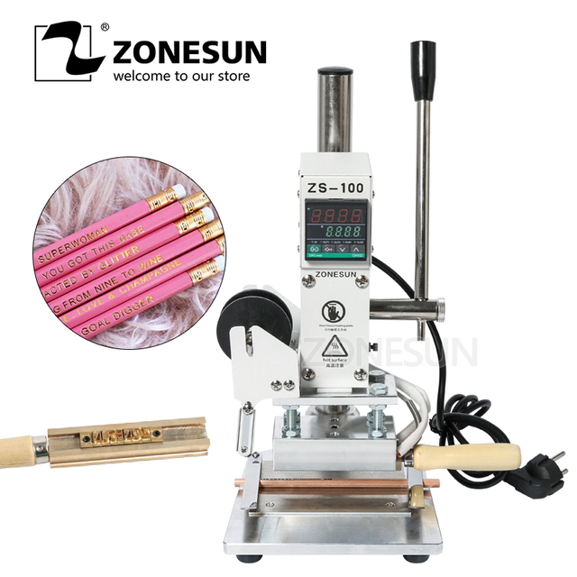 ZONESUN ZS-100A Custom Logo Hot Foil Stamping Machine Manual Bronzing Machine For PVC Card Leather Paper Pencil Stamping Machine
