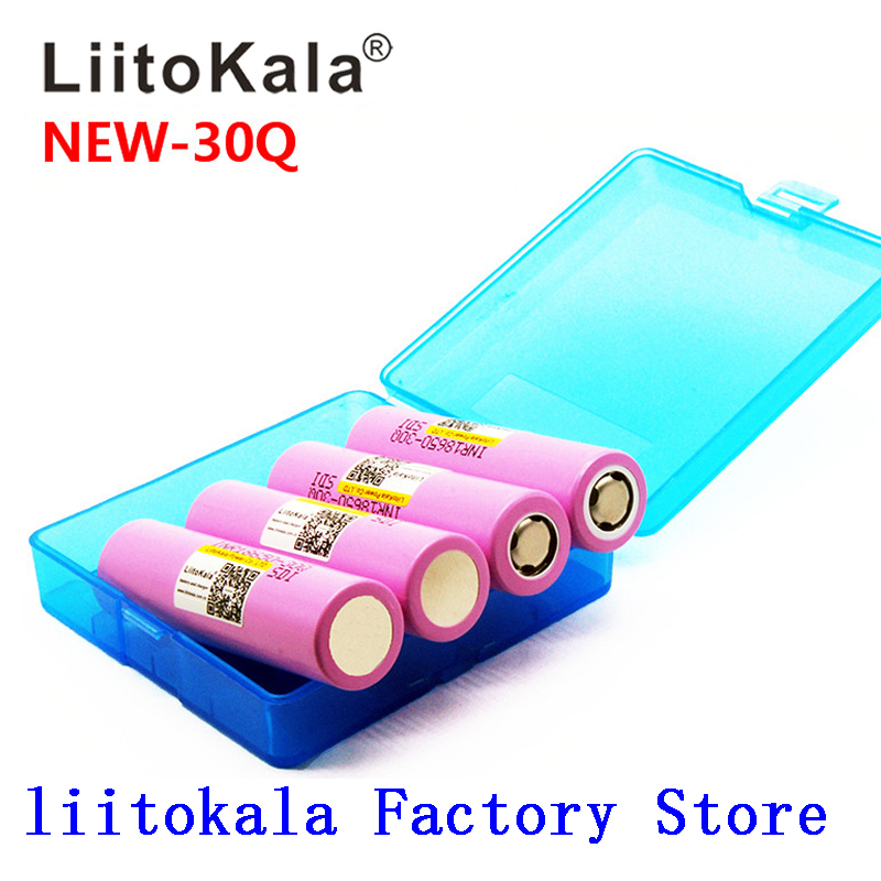 Litokala Original 18650 Battery 18650 30Q 3000mAh 20A Discharge 18650 Rechargeable Battery For E-cigarette+BOX