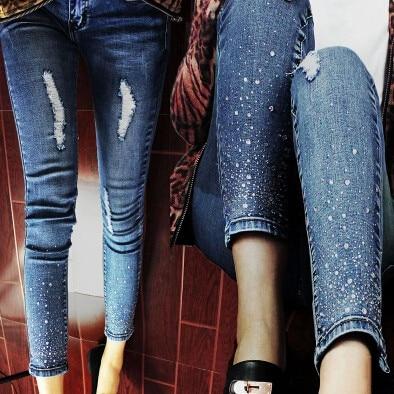 38b4e46c7 إمرأة تمتد سروال رصاص عادية سليم الديكور جينز الدينيم السراويل مثير