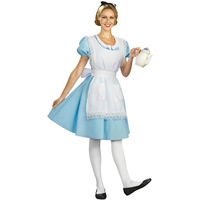 Women's Storybook Classic Alice In Wonderland Adults Costume Blue Fancy Dress Cosplay Halloween Sexy Stewardess Costume Roleplay