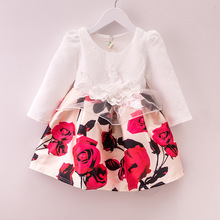 Fancy Long Sleeve Autumn Winter Girls Dresses Kids Baby Clothes Toddler Children Casual Rose Print Pretty Dress Infant Costume