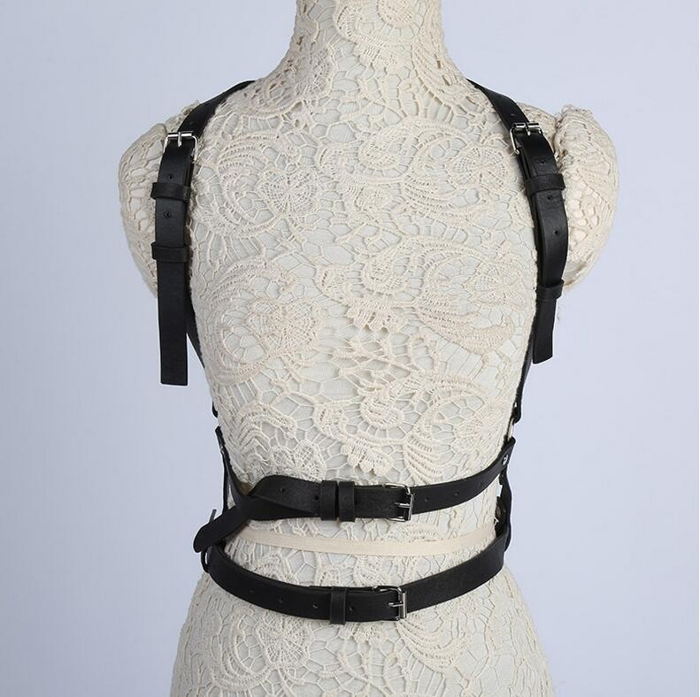 Punk Gothic Rock Handmade O Ring Waist Belt Body Bondage Caged Strap Harness