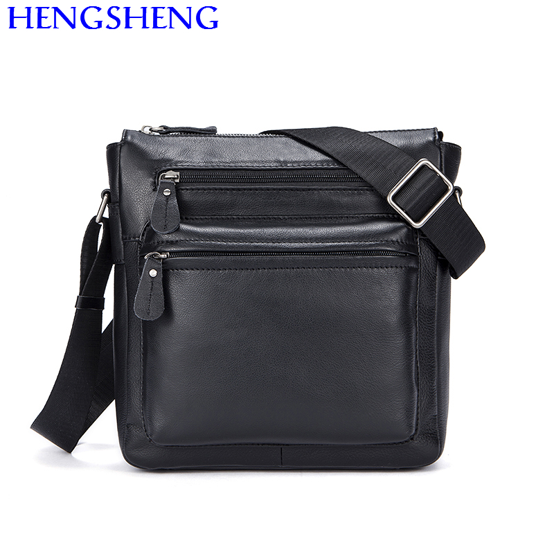Hengsheng cheap price cow font b leather b font men shoulder bags for fashion business men