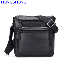 Hengsheng cheap price cow leather men shoulder bags for fashion business men bags by quality genuine leather messenger bags
