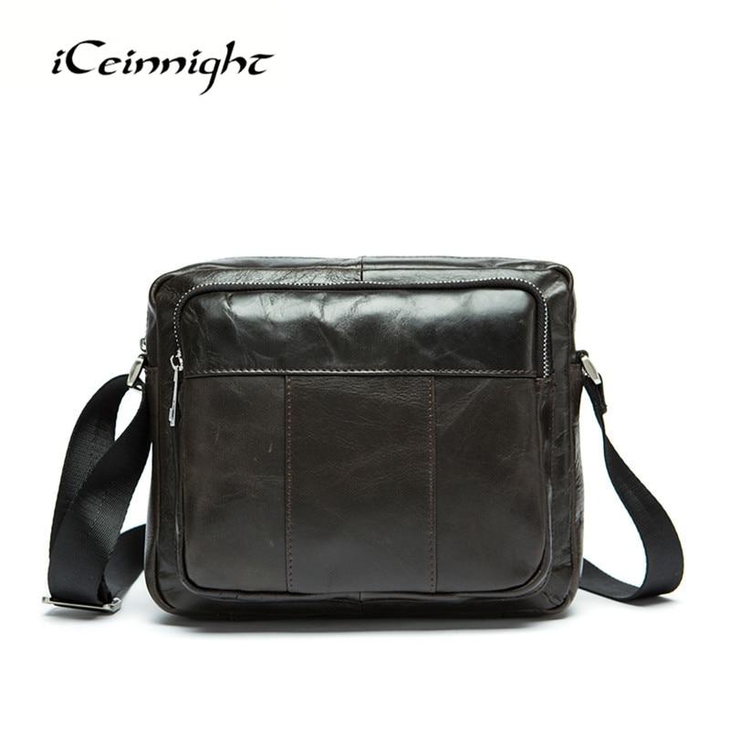 ФОТО iCeinnight New Arrive Man Messenger Bag Classic Design Genuine Leather Bag Men Shoulder Bag Brand Men Crossbody Bag male bolsa
