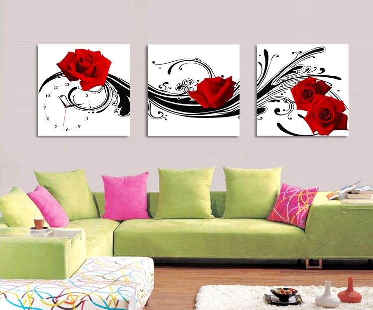 Framed 3 panels set print painting clock 3 piece rose flower