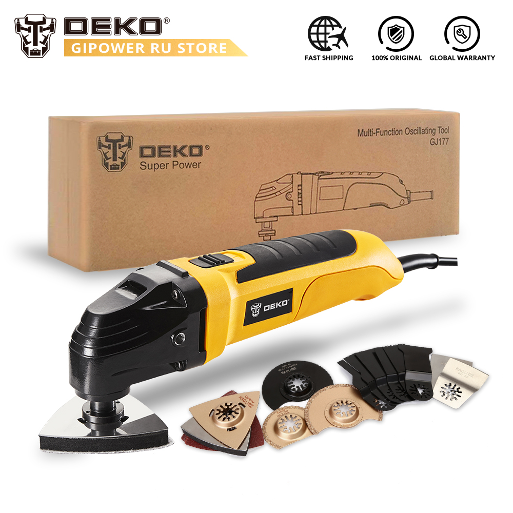 DEKO GJ177 220V Variable Speed Electric Multifunction Oscillating Tool Power Multi Tool Electric Trimmer with Saw
