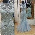 Elegantes Vestidos de Baile 2016 de la Cucharada de Manga Larga Rebordear Sirena Vestido de Noche Largo Vestido de Fiesta MF320
