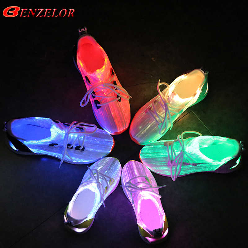 92eef848195 BENZELOR Autumn Fiber Optic Led Shoes Women Men USB Recharge Glowing  Luminous Sneakers For Girls Boys