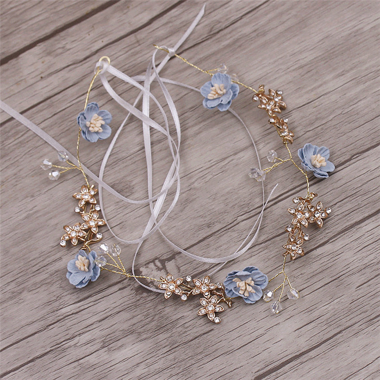 Headbands Jewelry Tiara Hair-Accessories Yarn Flower Soft-Chain Brides Handmade Wedding