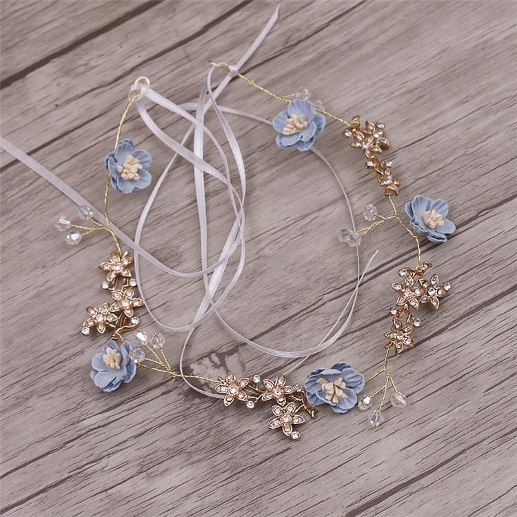 Headbands Jewelry Tiara Hair-Accessories Yarn Flower Soft-Chain Brides Handmade Wedding
