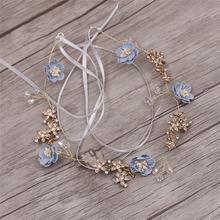 Милый цветок синий розовый ручной работы Пряжа ювелирные изделия