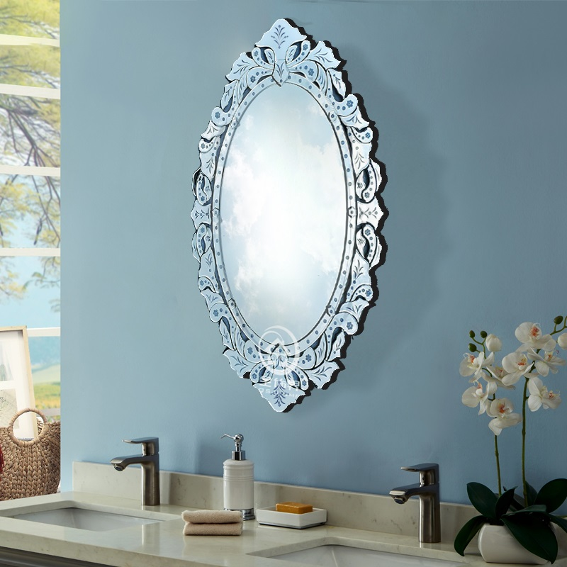 Modern wall glass vanity mirror venice oval venetian ...