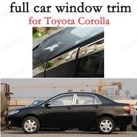 Acessórios exteriores do carro de aço inoxidável janela completa guarnição para t-oyota corolla decoração tiras com coluna
