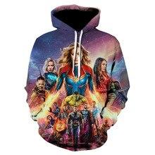Spring/summer 2019 men's and women's fashion print avengers 4 print casual hoodies, fashio