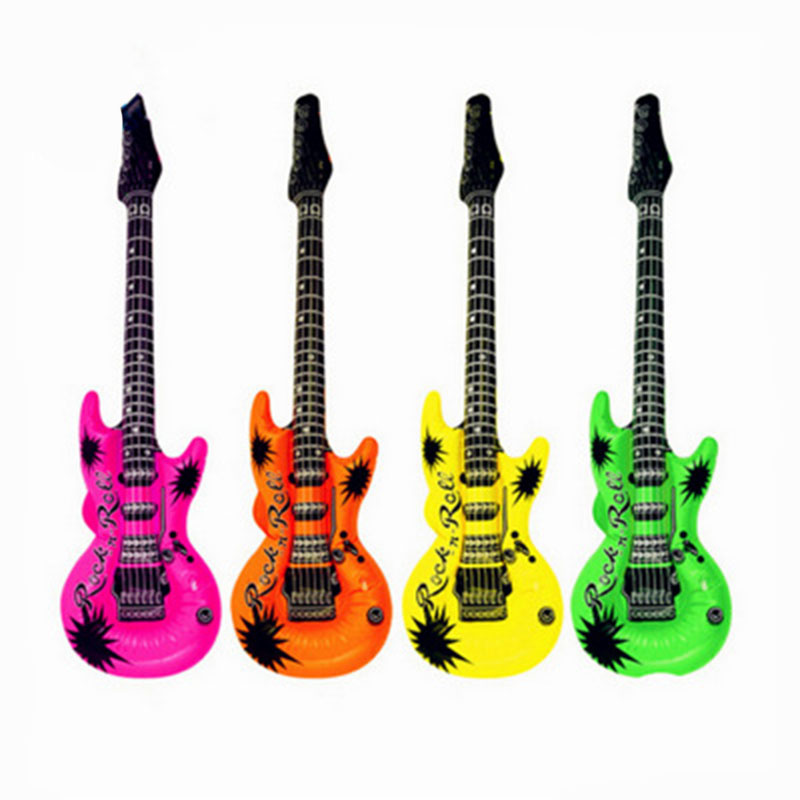1* PVC Inflatable Guitar Toy 53cm/93cm Inflatable Air Guitar Kids Children Toy Blow Up Party Fancy