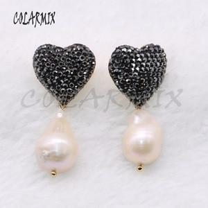Image 3 - 5 pares de pendientes de perlas naturales geométricas pendientes de perlas naturales pendientes de joyería al por mayor 4556