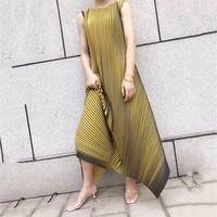 LANMREM 2019 New Summer Round Neck Sleeveless Pleated A line Pullover Long Dress Female Vestido WH24407 Free Size