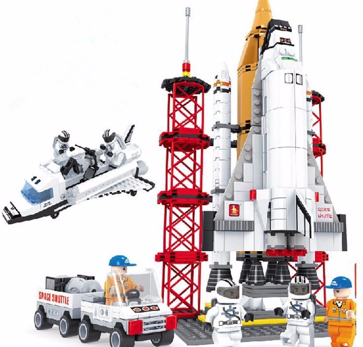 font b Legoe b font Compatible Ausini Space Shuttle Launching Base Minifigures Enlighten Blocks Educational