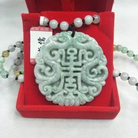 Zhe Ru Jewelry Pure Natural Jadeite Carved Green Cutout Longevity Dragon Pendant Tricolor Jade Pearl Necklace Send A Certificate
