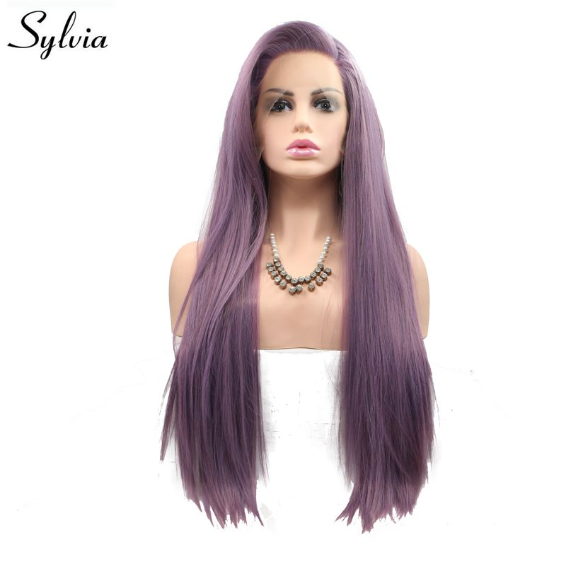 Sylvia Long Silky Straight Hair Purple Synthetic Lace Front Wig For Women Side Part Heat Resistant Fiber Hair Cosplay Party Wigs