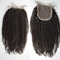 7A pelo peruano barato cierre 4 * 4 del pelo rizado rizado, 4c / 4a / 4b Afro rizado Lace Closure 4 * 4 parte media, envío gratis por DHL TNT
