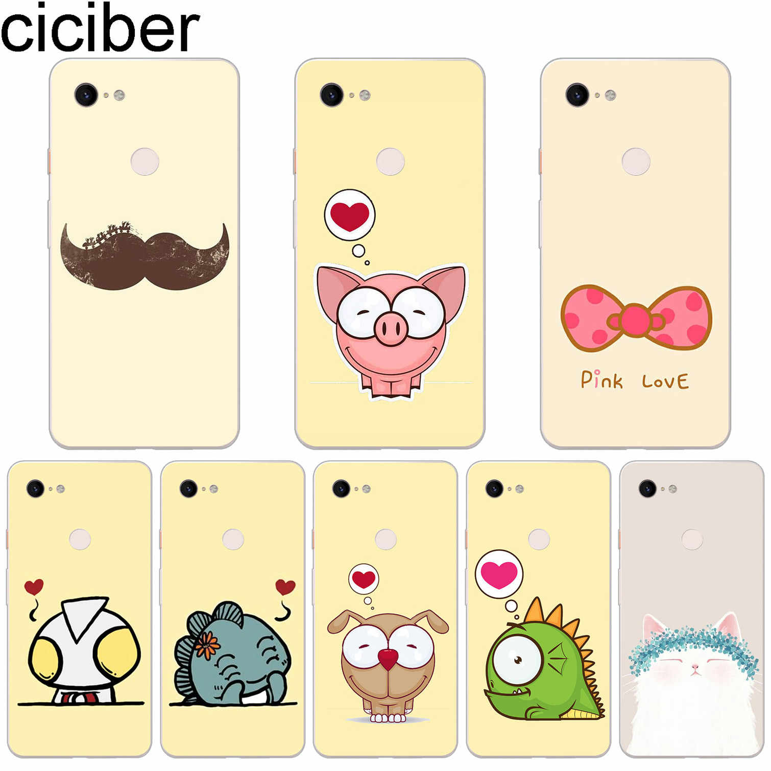 ciciber Cartoon Love Soft Silicone Phone Case For Google Pixel 3 2 XL TPU Back Cover for Pixel 3XL 2XL Coque Fundas Capa Shell